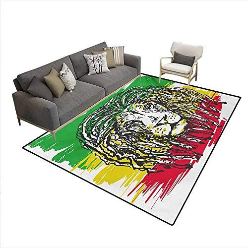 Floor Mat,Ethiopian African Culture Hair Style Lion Head