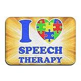 Youbah-01 Indoor/Outdoor Door Mats With I Love Autism Speech Therapy Printed For Bathroom