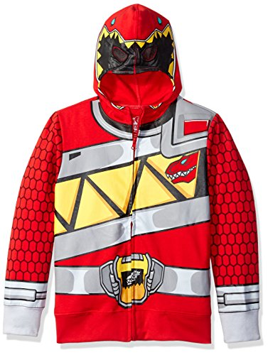Power Jacket (Power Rangers Little Boys' Character Hoodie, Red Dino, Large/7)