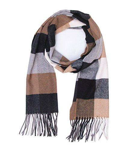 (Saferin Men Winter Plaid Soft Elegant Cashmere Feel Wrap Scarf Grey Plaid (3-4 Black Camel Plaid))