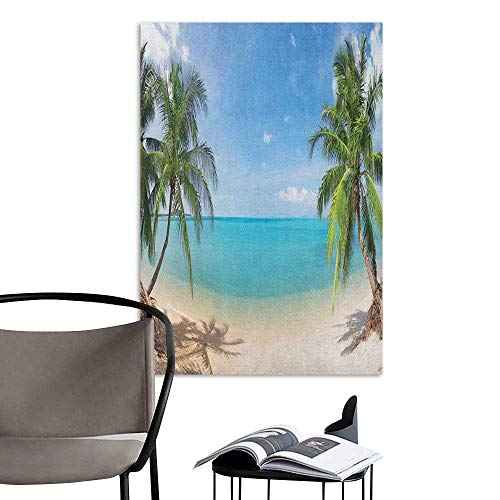 (Wall Mural Wallpaper Stickers Ocean Panoramic View of Tropical Sandy Beach Exotic Vacation Theme Print Turquoise Green Pale Brown Men's Room Wall W32 x H48)