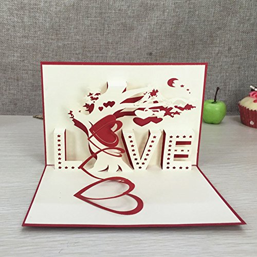 Best Quality - Cards & Invitations - 1pcs Heart & Tree Laser Cut Origami Paper 3D Pop UP Cards With