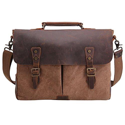 Tiding Men Retro Canvas Leather 15.6 Inch Laptop Vintage Messenger Bag Satchel Briefcase Cross Body Shoulder Bag (Brown 15.6 inch)