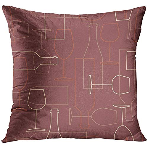 - Throw Pillow Cover Pack with Wine Bottles and Glasses Icons Modern Thin Line Flat with Winery Collection Colorful Good Decorative Pillow Case Home Decor Square 18x18 Inches Pillowcase
