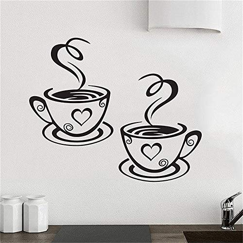 (Hueoi Vinyl Wall Statement Family DIY Decor Art Stickers Home Decor Wall Art Newly Designed Beautiful Coffee Cups Tea Wall and Kitchen Decal for Kitchen Room Coffee Bar)