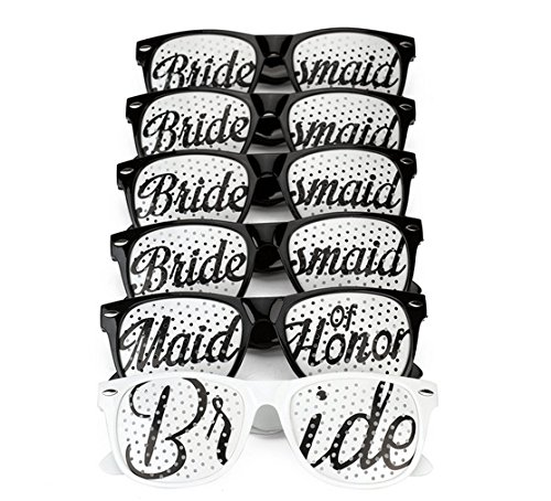 [6 PACK] Bachelorette Party Wedding Sunglasses Set for Bridal Party - Bridal Party Glasses Favors - Fun Photo Props Novelty Ideas (Black)