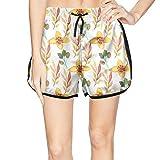 XULANG Beautiful Women Watercolor Floral Beautiful and Romantic Beach Shorts Watersports Swimming Knee Length Boardshorts