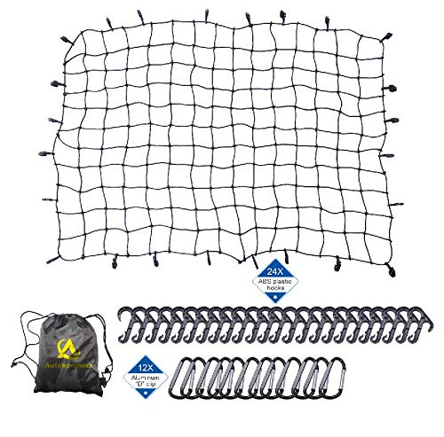 Autekcomma 5'x7' Stretches to 10'x14'.Heavy Duty Oversized Cargo net 4X4 Mesh. 7MM Bungee Cord .12 x Aluminum Tangle -Free D Carabiners .24 x ABS Hooks for Pickup Bed, Truck Bed, Trailer