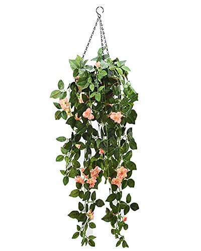 Lopkey Silk Rose Artificial Flowers Hanging Basket Decor,Champagne