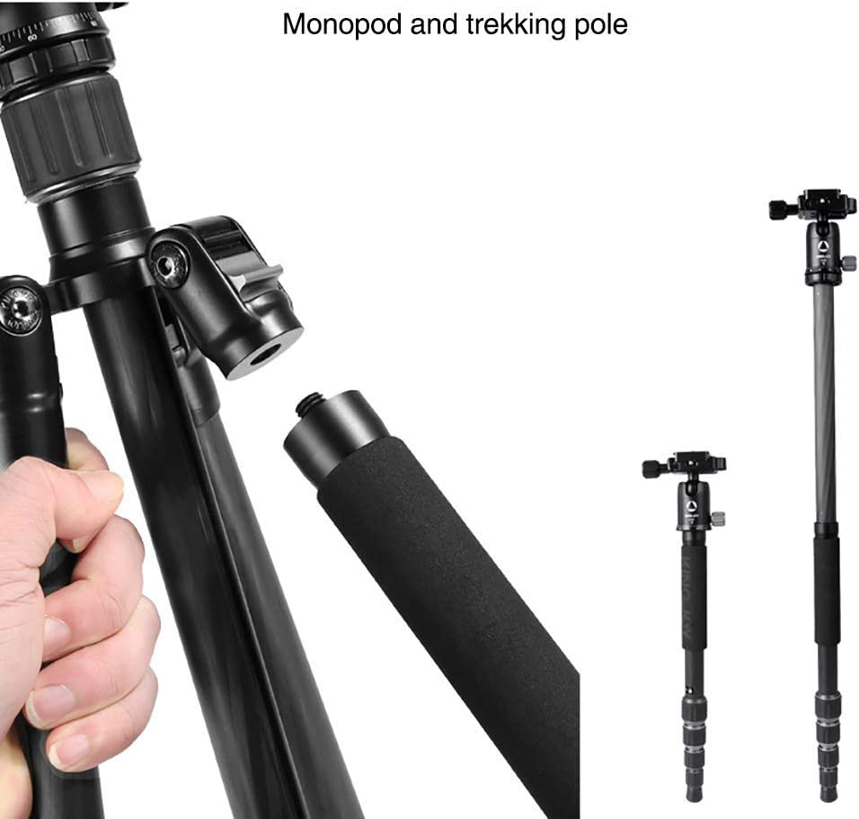 Load 10Kg Carbon Fiber Lightweight Tripods Monopod Quick Release Plate 360 /° Panorama Ball Head Compatible 22Lbs XIAOXIAO Black 143Cm Portable Travel Tripod