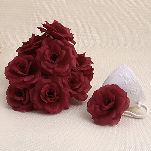 Arich 20pcs Roses Artificial Silk Flower Heads DIY Small Bud Party Wedding Home Decor (Deep Red)