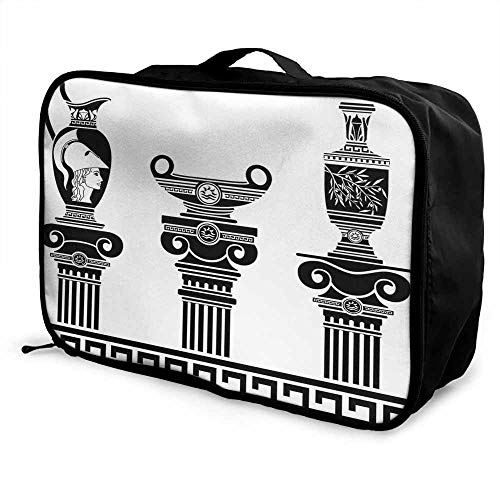 Toga Party Luggage trolley bag Set of Hellenic Vases and Ionic Columns Artistic Design Amphora Antiquity Waterproof Fashion Lightweight Black and White