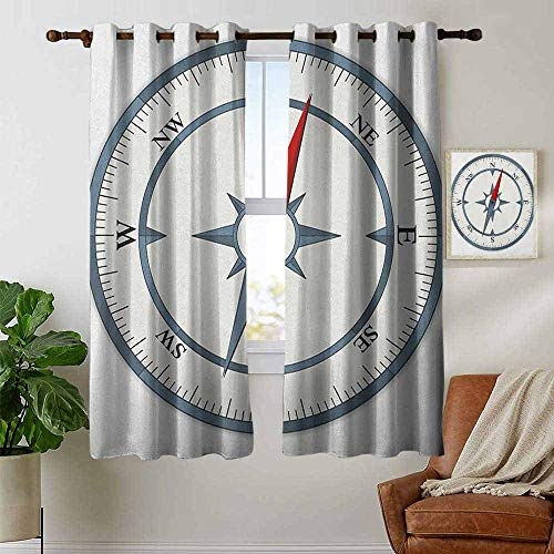 petpany Curtains for Bedroom Compass,Minimalist Design Compass with Windrose Finding Your Way on The Sea Navigation, Slate Blue Red,Darkening and Thermal Insulating Draperies 42