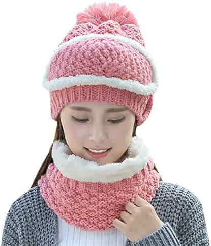 14efbb290b3 DTBG Knitted Beanie Gloves   Scarf Winter Set Warm Thick Fashion Hat  Mittens 3 in 1