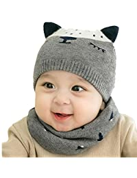 Beanie Hat Girls Boys Knitted Caps with Cotton Drool Bibs Soft