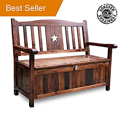 Songsen 4 Feet Wooden Storage Bench With Arm And Back Garden Storage Bench Chest Indoor Shoe Cabinet Chair