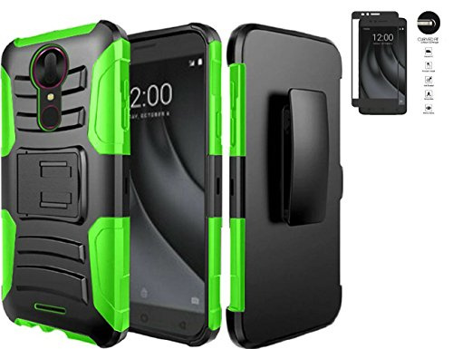 (Tempered Glass+2Layer Rugged Rubber Case Cover w/Holster Belt Clip for Coolpad T-Mobile REVVL Plus Phone (Black on Green))