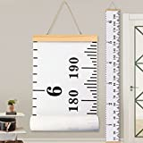 #5: Baby Height Growth Chart Ruler KINBON Kids Roll-up Canvas Height Chart Removable Wall Hanging Measurement Chart Wall Decor with Wood Frame for Kids Nursery Room (''79 X 7.9'')