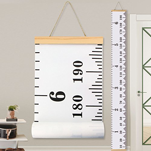 Baby Height Growth Chart Ruler KINBON Kids Roll-up Canvas Height Chart Removable Wall Hanging Measurement Chart Wall Decor with Wood Frame for Kids Nursery Room (''79 X - Size Chart Frame