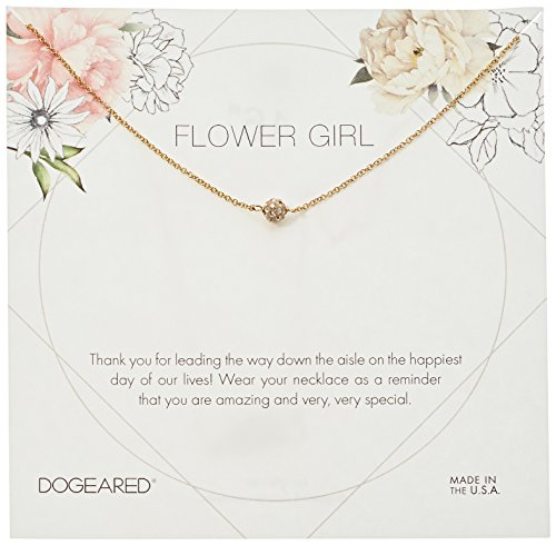 Dogeared Flower Girl Flower Card Pave Sparkle Ball Chain Neckalce, Gold, 16