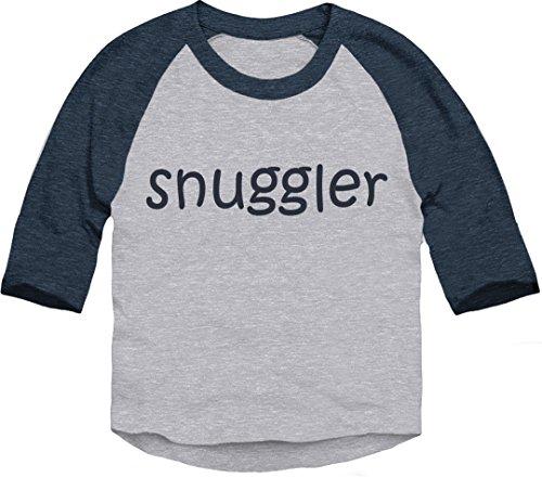 Trunk Candy Toddler Snuggler 3/4 Sleeve Dual Blend Raglan Baseball T-Shirt (Heather/Navy, 2T)