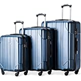 "Merax Luggage 3 Piece Sets Lightweight Spinner Suitcase 20"" 24"" 28"" - P.E.T Material (Blue)"