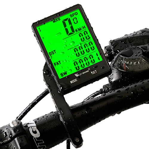 Waterproof Computer (Cycle Computer, Bike Odometer Speedometer for Bicycle, Waterproof LCD Automatic Wake-up Backlight Motion Sensor for Biking Cycling Accessories)