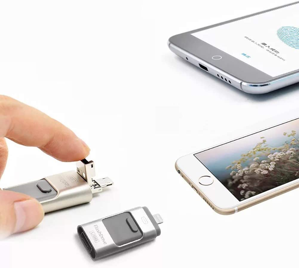 USB Storage Stick Memory Expansion Compatible for iPhone Android Type-C Port PC QKa 3-in-1 USB Flash Drive Laptop