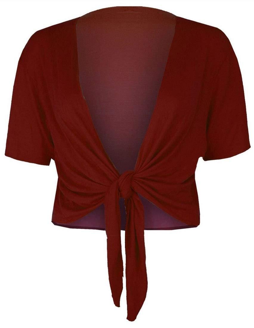 Crazy Girls Womens Ladies Cap Sleeve Tie Up Front Cropped Bolero Shrug Crop Cardigan Top UK 8-26