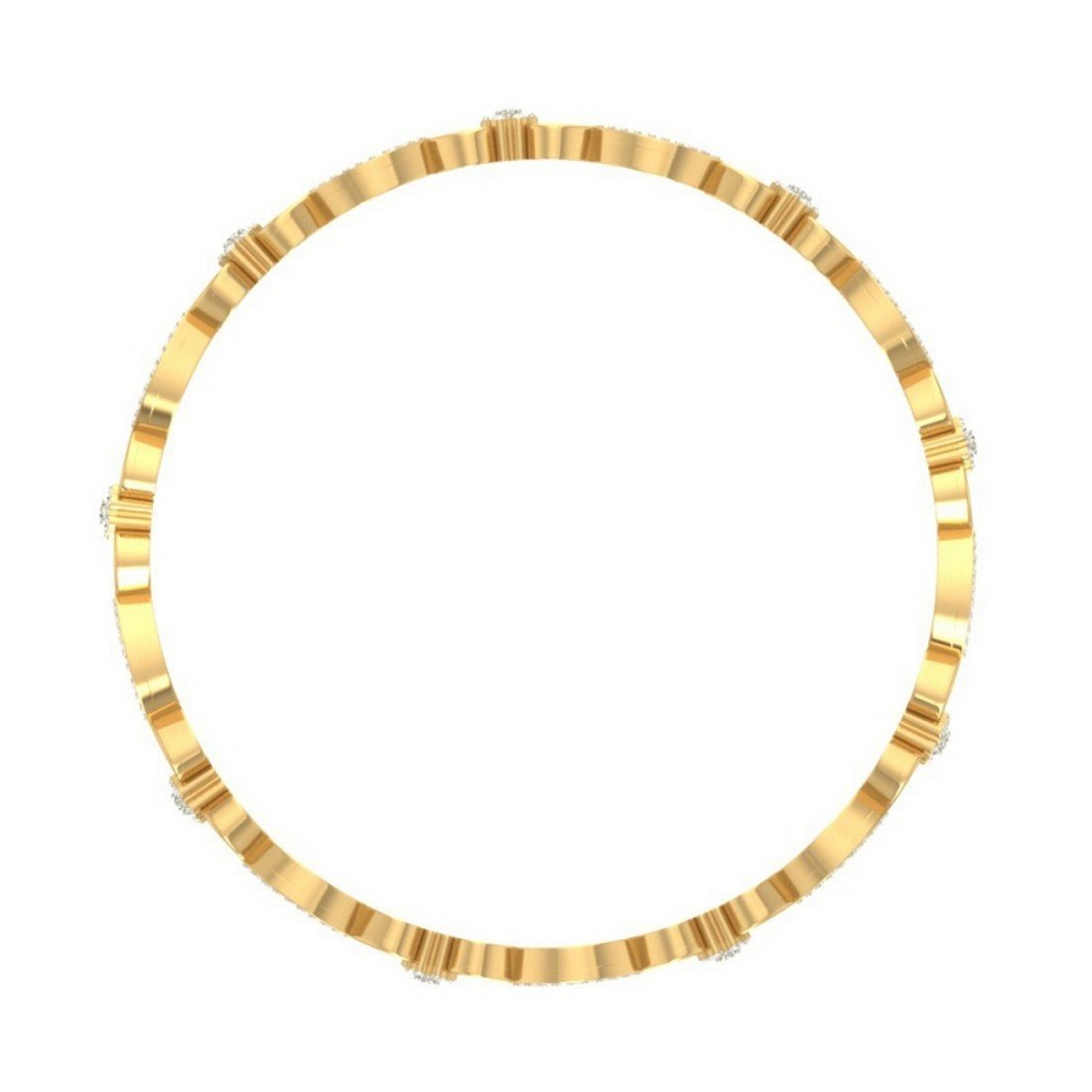 2.92 cttw Round-Cut-Diamond IJ  SI 18K Yellow Gold bangle-bracelets Size 9.75 inches