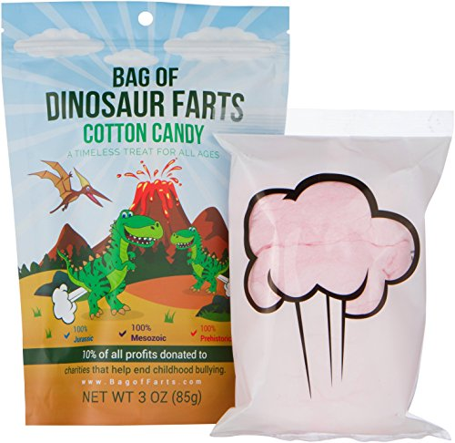 Bag of Dinosaur Farts Cotton Candy Funny Unique Gift for Kids, Parents