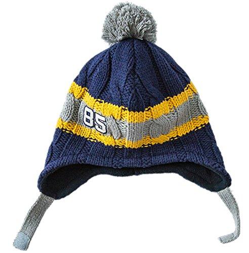 - Connectyle Toddler Kids Warm Fleece Lined Knit Winter Hats Pom Pom Striped Beanie Hat with Earflap