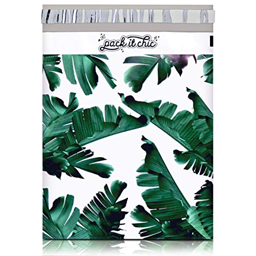 Pack It Chic - 10X13 (100 Pack) Tropical Leaves Poly Mailer Envelope Plastic Custom Mailing & Shipping Bags - Self Seal (More Designs Available)