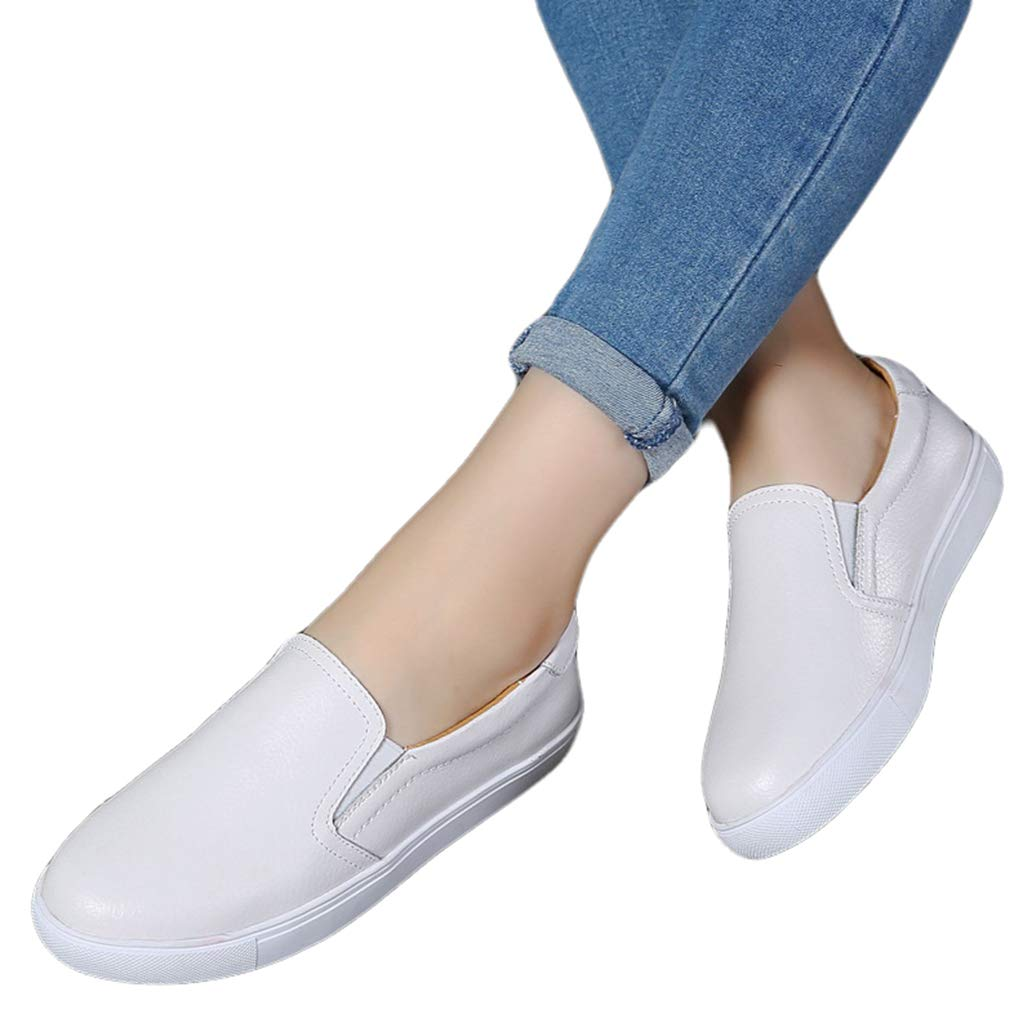 York Zhu Women Flats Shoes Round Toe Slip-On Comfortable Walking Loafers Shoes