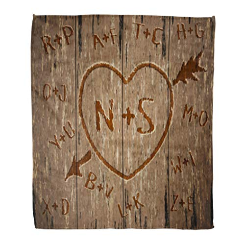 Golee Throw Blanket Brown Happy Valentine Day Carved Heart in Tree Initials Red 50x60 Inches Warm Fuzzy Soft Blanket for Bed - Blanket Carved Oak
