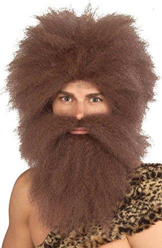 Forum Caveman Wig and Beard Set, Brown, One Size - Mountain Man Beard Costume