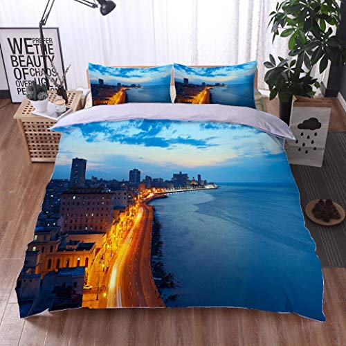 (HOOMORE Bed Comforter - 3-Piece Duvet -All Season, Havana Cuba Malecon at Dusk,HypoallergenicDuvet-MachineWashable -Twin-Full-Queen-King-Home-Hotel -School)