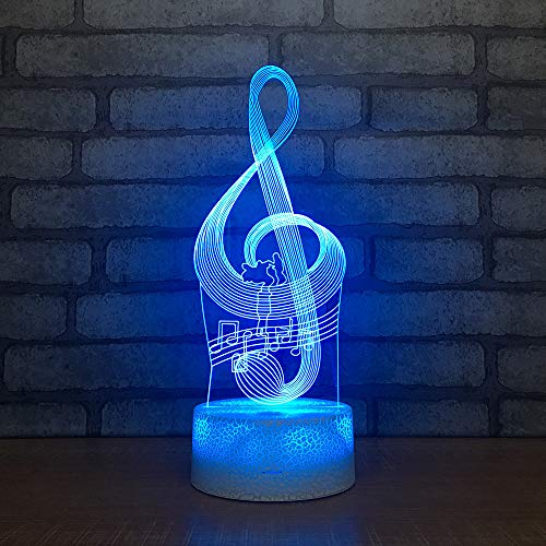 3D Music Note Night Light Table Desk Optical Illusion Lamps 7 Color Changing Lights LED Table Lamp Xmas Home Love Brithday Children Kids Decor Toy Gift