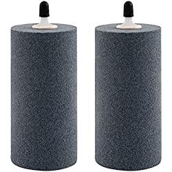 2-Pack Air Stone Cylinder 4 x 2 Inch Micropore Design Mineral Bubble Diffuser for Hydroponics Air Pump