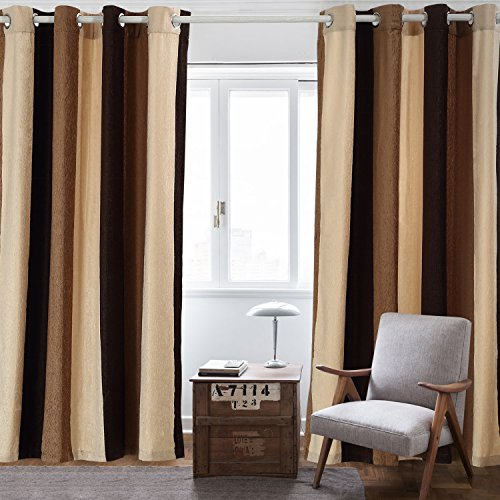 Nanami Chic Blackout Curtains Wide Stripes Grommet Window Curtains for Living Room Bedroom One Panel (Coffee, - Room Living Decor Brown