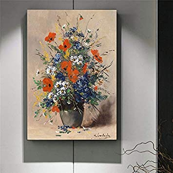 ganlanshu Pintura sin Marco Holandés bodegón Mural Lienzo Pintura Cartel Gran Flor Pintura al óleo Planta ilustración impresión ZGQ4035 60X80cm