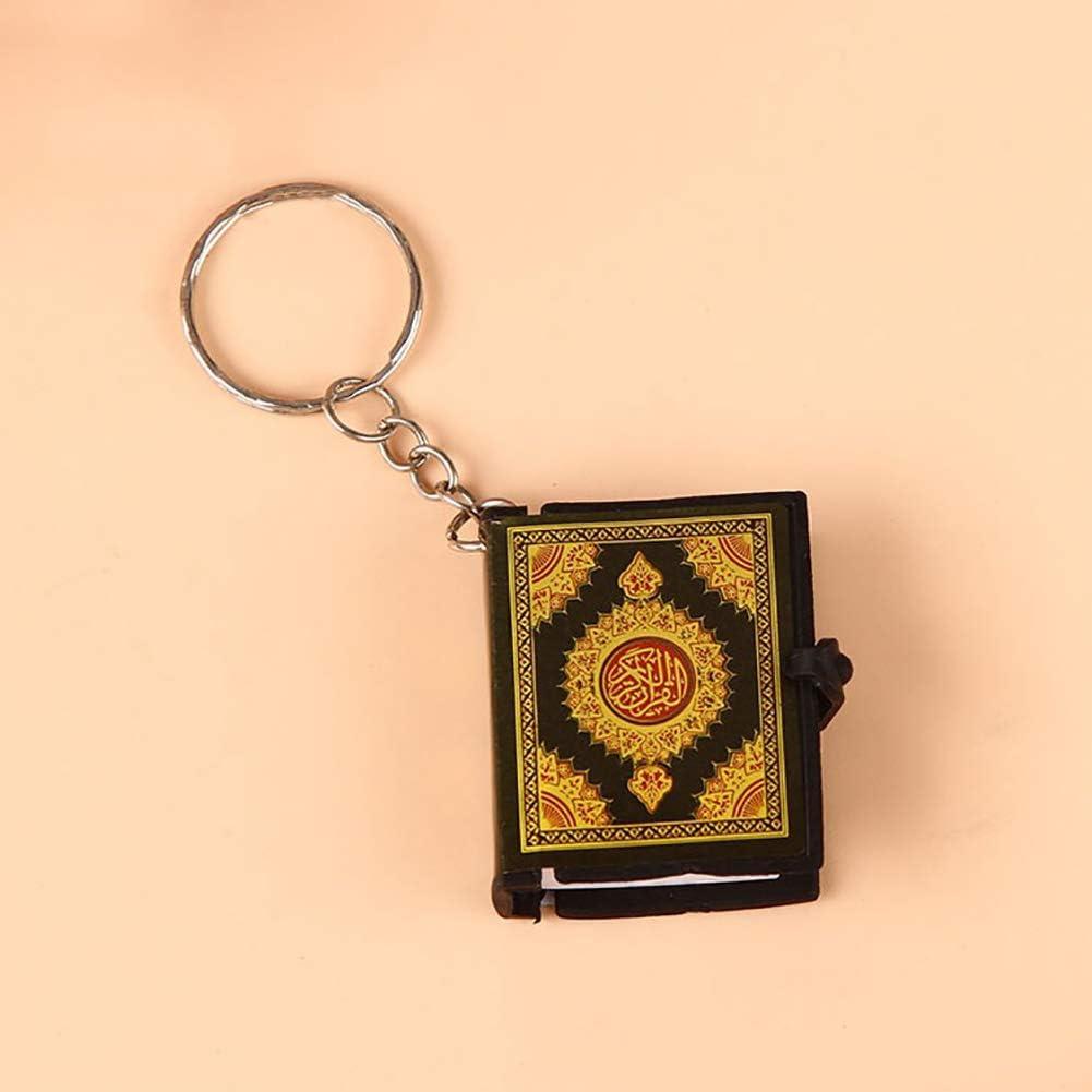Verlike Unisex Mini Quran Arabic Pendant Keychain Bag Car Hanging Key Ring Car Key Holder Green