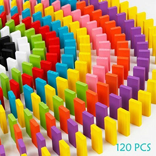ULT-unite 120pcs Wooden Dominos Blocks Set, Kids Game Educational Play Toy, Domino Racing Toy Game -