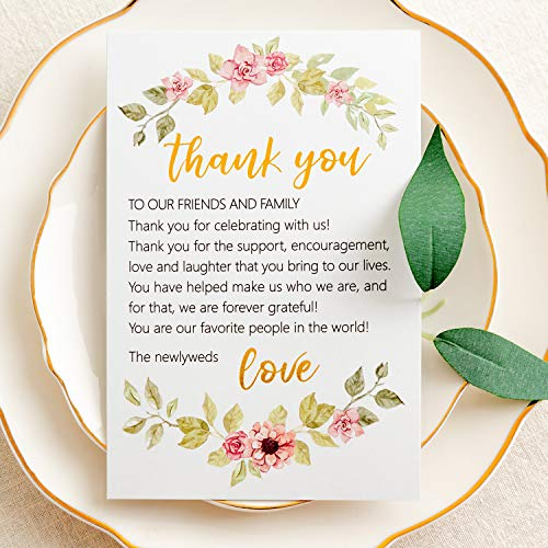 Crisky Wedding Thank You Place Setting Cards, Flower with Foil Gold, Chic and Elegant Wedding Table Centerpieces and Wedding Decorations, Wedding Supply, 4 x 6 inch, Pack of 50