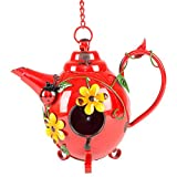 Cheap Red Teapot Flowers and Ladybugs 16 Inch Metal Hanging Indoor Outdoor Birdhouse