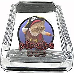 Pirate Cat ARRRR!!! Funny Cute Glass Square Ashtray