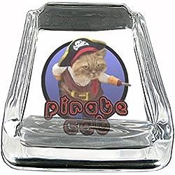 Pirate Cat ARRRR!!! Funny Cute Glass Square Ashtray