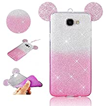 Stysen Galaxy A5 2017 Glitter Case,Galaxy A5 2017 Bling Case,Luxury Sparkle Ultra Thin Slim Transparent Beauty Soft TPU Rubber Silicone Protective 2 in 1 Gradient Color Case Cover with Lovely 3D Cartoon Mouse Ear Design Lightweight Shiny Back Clear TPU Bumper Shell Phone Skin Etui Gel Case Cover for Samsung Galaxy A5 2017-Pink