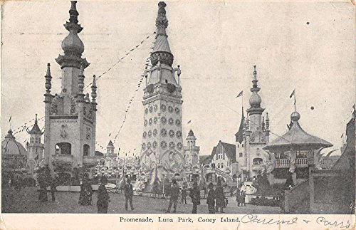 Coney Island New York Luna Park Promenade Street View Antique Postcard - Street Promenade
