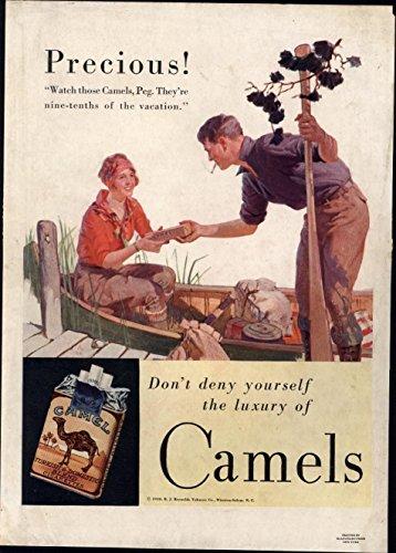 Canoe man & woman Camel Cigarettes Smoking 1929 vintage color Advertisement (Cigarettes Camel Memorabilia)